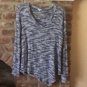 Splendid Knit Top Tunic Sz Small Blue Asymmetrical